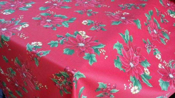 Χριστουγεννιάτικο ύφασμα βαμβακοσατέν κόκκινο με κόκκινο αλεξανδρινό λουλούδι σε 2.80 φάρδος για τραπεζομάντηλο, κουρτίνα, ράννερ και κάθε χριστουγεννιάτικη διακόσμηση