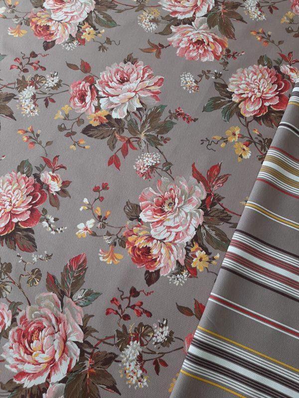 καραβόπανο_λουλούδι_σε_γκρί_φόντο συνδυασμένο με ριγέ στα ίδια χρώματα