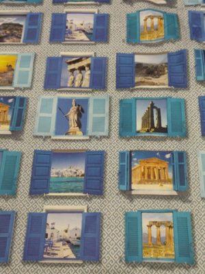 ύφασμα ελληνικό τοπίο παράθυρα