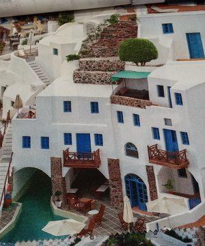 Ύφασμα καραβόπανο σχέδιο ελληνικά νησιά Σαντορίνη