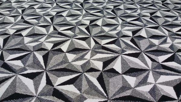 ύφασμα γεωμετρικό σχέδιο άσπρο μαύρο τρίγωνα