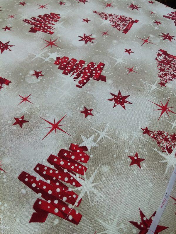 Χριστουγεννιάτικο ύφασμα μπέζ με δένδρα-κορδέλλες αστέρια κόκκινα σε 2.80 φάρδος για τραπεζομάντηλο ταπετσαρία, ράννερ,