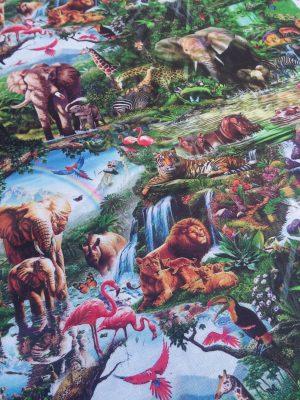 Ύφασμα καραβόπανο ζούγκλα με ζώα ελέφαντες,λιοντάρια,φλαμίνγκο