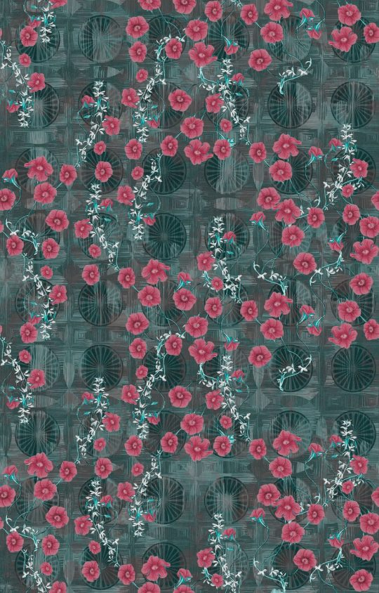 ύφασμα φλοράλ φούξια λουλούδι πετρόλ φόντο,βαμβακερό, καραβόπανο,τραπεζομάνδηλο