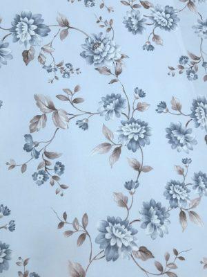 σιέλ φόντο μπλέ λουλούδι γκρί φύλλα κουρτίνα τραπεζομάντηλο