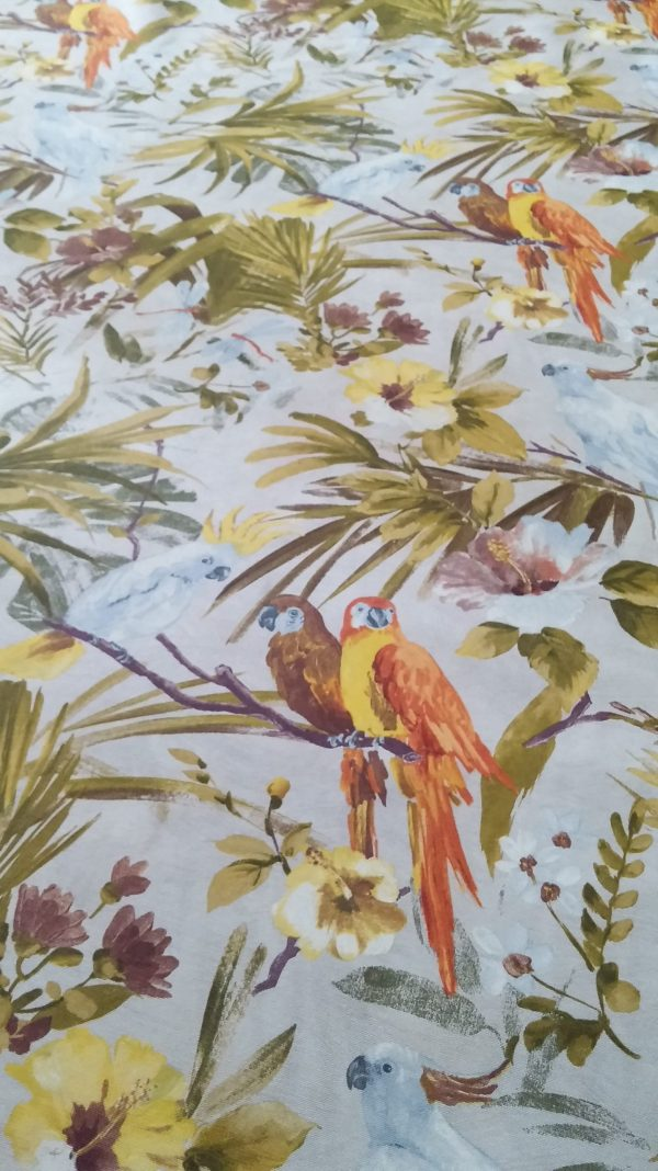 ύφασμα τροπικό παπαγάλοι λαδί πορτοκαλί