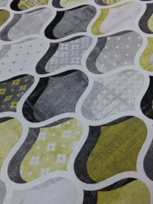 ύφασμα γεωμετρικό γκρί κίτρινοσχέδιο