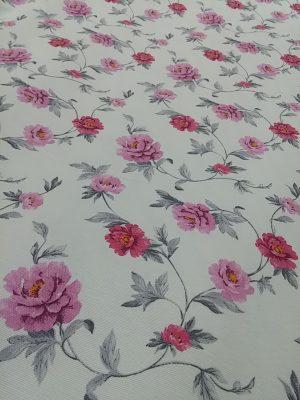 ύφασμα φλοράλ άσπρο κόκκινα ρόζ τριαντάφυλλα