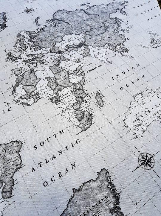 ύφασμα χάρτης υδρόγειος μαύρο άσπρο