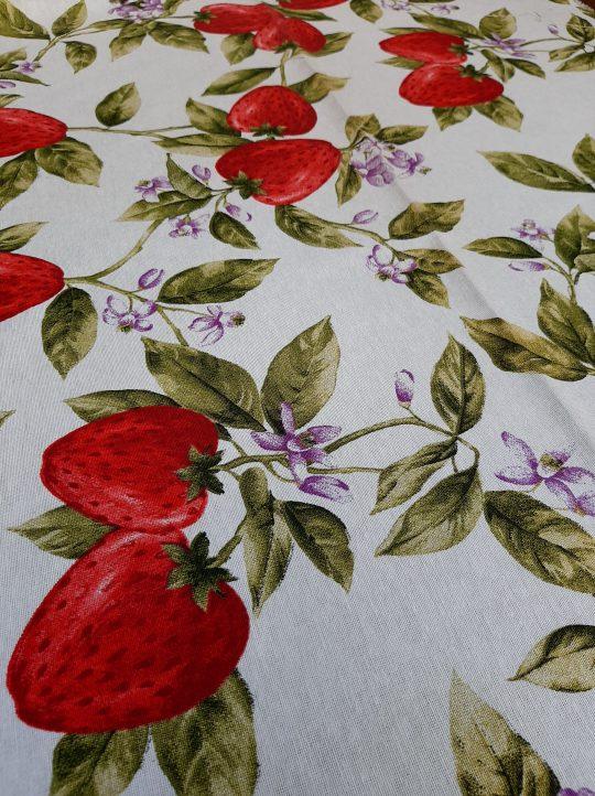 ύφασμα φράουλες τραπεζομάνδηλο κουρτίνα