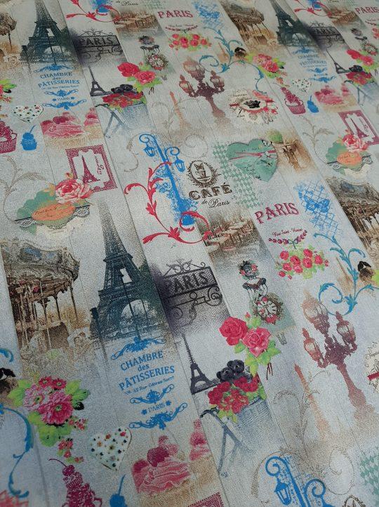 ύφασμα βαμβακερό Παρίσι καφέ