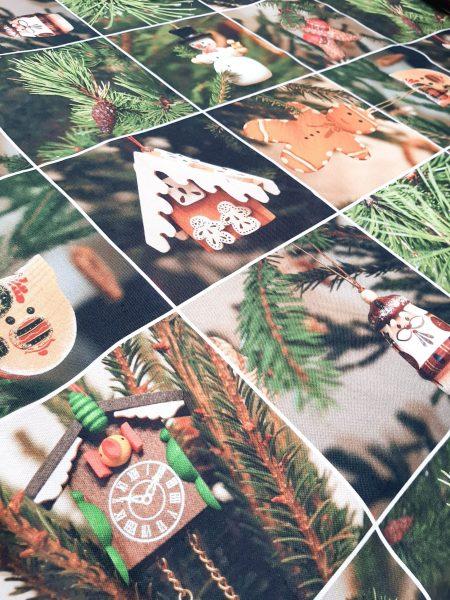 Χριστουγεννιάτικο ύφασμα βαμβακερό μαλακό καραβόπανο τύπου patchwork φωτογραφίες απο χριστουγεννιάτικα στολίδια με φόντο χριστουγεννιάτικα κλαδιά δένδρων σε 2.80 φάρδος για τραπεζομάντηλο, κουρτίνα, ράννερ και κάθε χριστουγεννιάτικη διακόσμηση