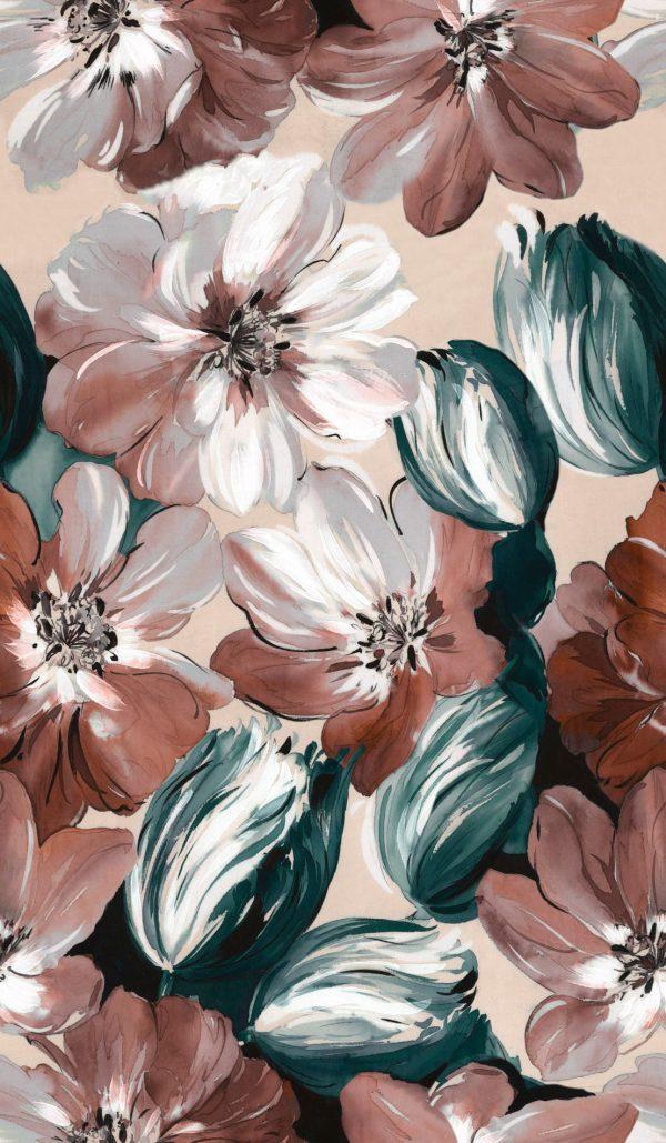 Ύφασμα φλοράλ τύπου ακουαρέλλα βαμβακερό μαλακό καραβόπανο σε 2.80 φάρδος, με λουλούδια στα νέα χρώματα πετρόλ και τερακότα . Κατάλληλο για κουρτίνα, ριχτάρι, ντύσιμο μαξιλαριών και κάθε χρήση διακόσμησης