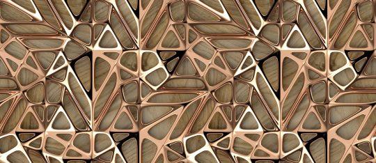 ύφασμα μεταλλικά σχήματα σε ξύλο