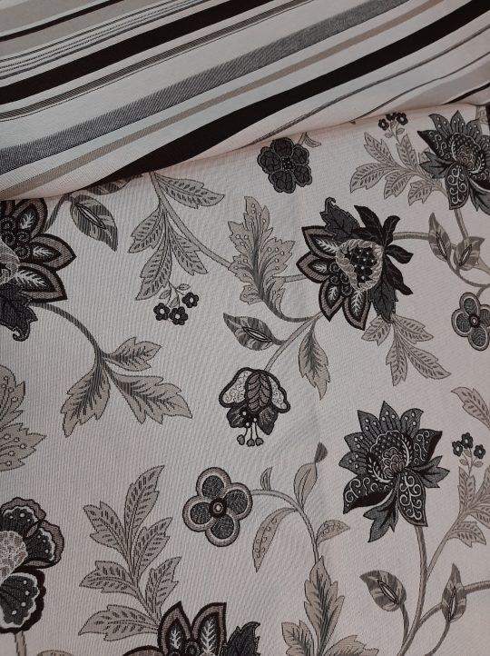 ύφασμα ασπρο μαυρο λουλούδι συνδιασμός με ριγέ