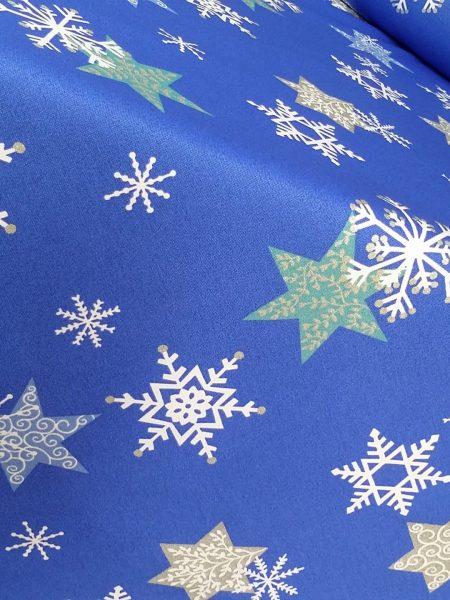 ύφασμα χριστουγεννιάτικο μπλέ