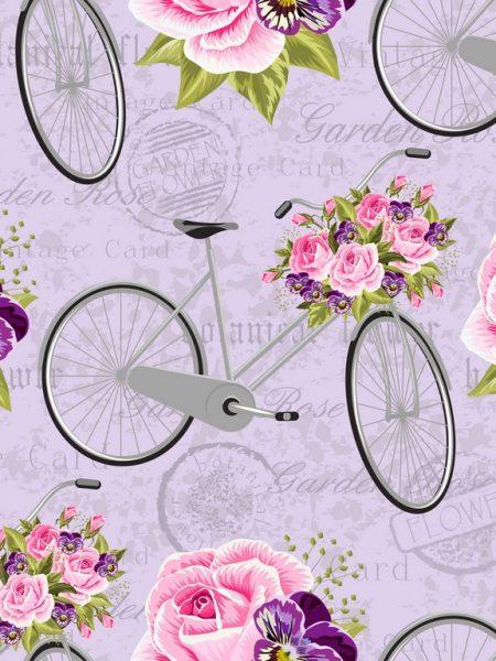 ποδήλατα λουλούδια ρόζ λιλλά