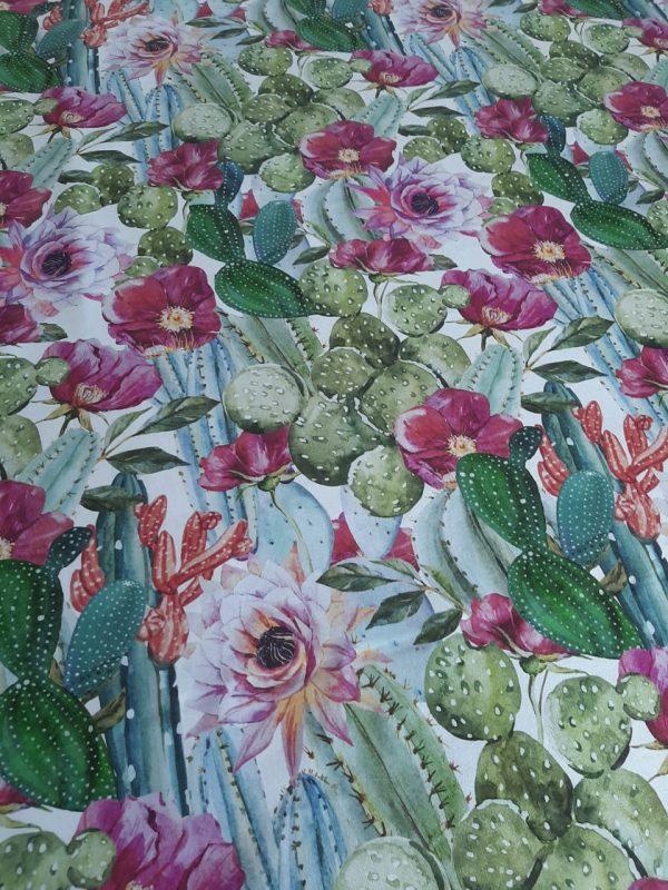 ύφασμα με λουλούδια κάκτους