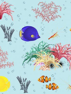 αδιάβροχο-βαμβακερό καραβόπανο τροπικά κοράλλια