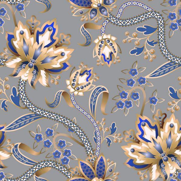 λουλούδια χρυσά μπλέ οριένταλ Αδιαβροχοποιημένο-αλέκιαστο ύφασμα Βαμβακερό καραβόπανο σε 2.80 φάρδος. Μαλακό για κουρτίνα σαλονιού ,κρεββατοκάμαρας, μαξιλάρια, τραπεζομάντηλο και κάθε χρήση διακόσμησης.