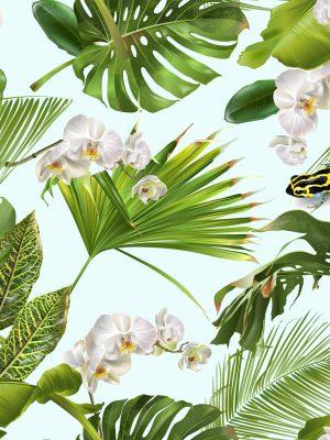 ύφασμα αλέκιαστο βοτανικό με τροπικά φύλλα, ορχιδέα λουλούδια και βάτραχο σε Σχεδιασμός φόντου για γάμο Χαβανέζικο