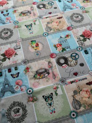 βαμβακερό-τραπεζομάντηλο-λουλούδι-πεταλούδες-πύργος eifel