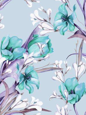 υφασμα λουλούδι μέντα λιλλά αλέκιαστο ζωγραφική