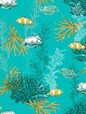Φρέσκο καλοκαιρινό ζωγραφισμένο στο χέρι ναυτικό θαλάσσιο θησαυρό σχέδιο ψαριών και κοραλλιών σε πράσινο φόντο αλέκιαστο