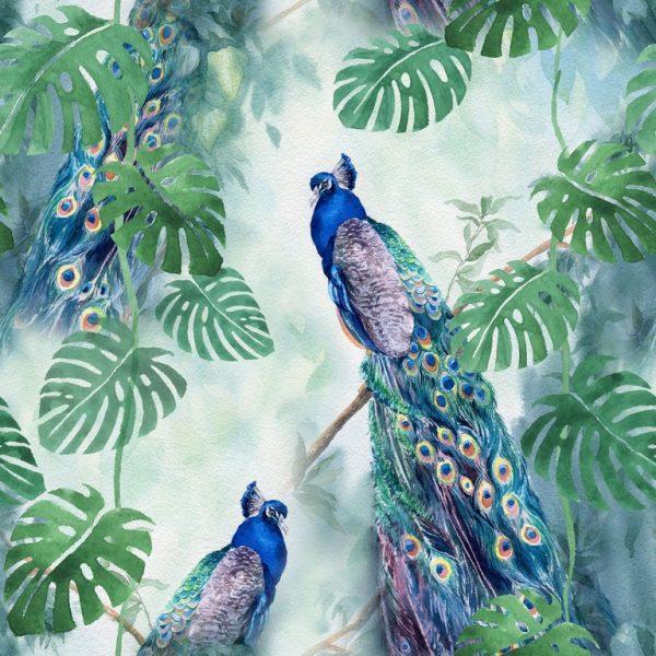 Τροπικό τοπίο με παγώνια μπλέ πράσινα μέντα χρώματα καθισμένα σε τροπικά κλαδιά και φύλλα πράσινα σε υγρή σιέλ μέντα ατμόσφαιρα. Αδιαβροχοποιημένο-αλέκιαστο βαμβακερό καραβόπανο σε 2.80 φάρδος. Μαλακό για κουρτίνα, μαξιλάρια, τραπεζομάντηλο και κάθε χρήση διακόσμησης.