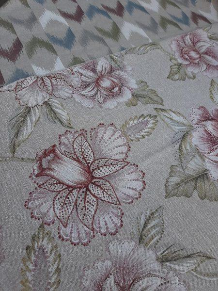 λινό-λουλούδι ύφασμα