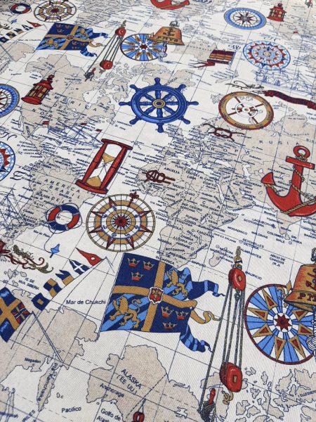 ύφασμα με ναυτικά όργανα χάρτης της γής άγκυρες πυξίδες σημαίες