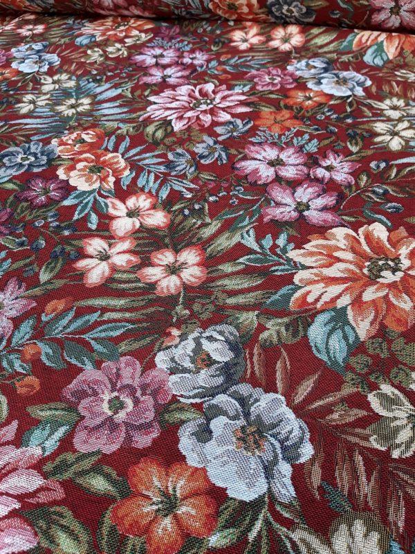 ύφασμα επίπλωσης λουλούδια πολύχρωμο σε μπορντώ φόντο για καναπέδες ριχτάρι