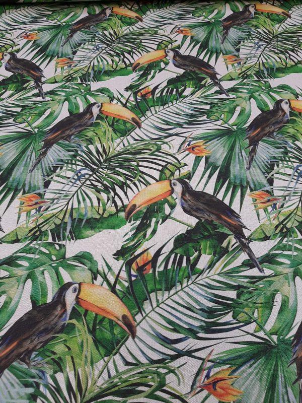ύφασμα με πράσινα τροπικά φύλλα και τροπικό πουλί τουκάν σε άσπρο φόντο