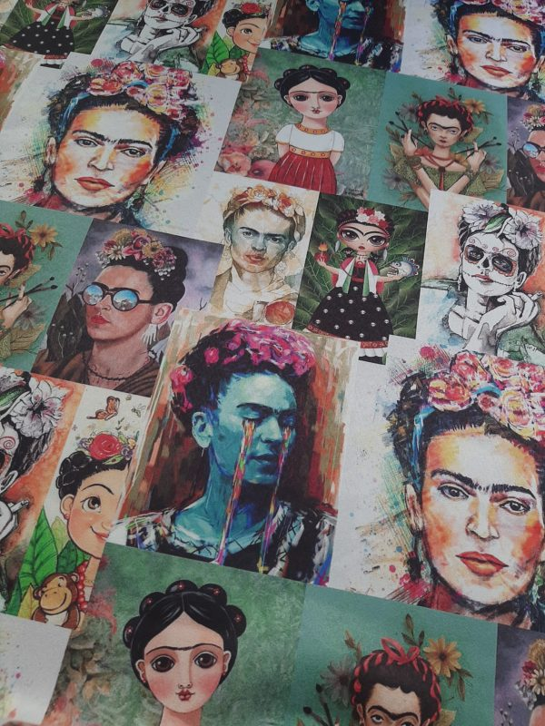 Ύφασμα με το πρόσωπο της Φρίντα Κάλο σε διαφορετικό στύλ