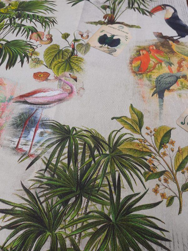 ΎΦΑΣΜΑ ΜΕ ΤΡΟΠΙΚΆ φύλλα φοίνικα και τροπικά πουλιάφλαμίνκο τουκάν πελαργούς