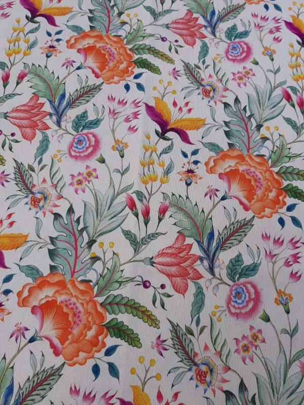 ΎΦΑΣΜΑ εξωτικά λουλούδια σε λευκό φόντο βαμβακερό καραβόπανο μαλακό σε 2.80 φάρδος. Κατάλληλο για κουρτίνα, ριχτάρι, ντύσιμο μαξιλαριών και κάθε χρήση διακόσμησης.