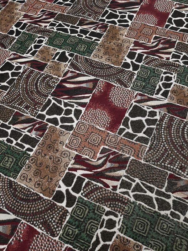Ύφασμα επίπλωσης σε 2.80 φάρδος ethnic αφρικάνικο τύπου patchwork με μοτίβα animal print περισσότερο λαδί -πράσινο και μπέζ -καφέ