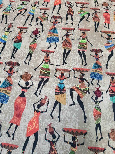 Ύφασμα βαμβακοσατέν χονδρό για κουρτίνα ντύσιμο επίπλωσης σε 1.40 φάρδος με φιγούρες αφρικάνικων παραδοσιακών γυναικών με καλάθια στο κεφάλι σε κίνηση