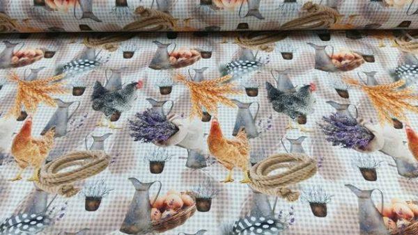 Ύφασμα με κότες αυγά αντικείμενα του χωριού σε καρώ φόντο για Πασχαλινο τραπεζομάντηλο ,κουρτίνα και χωριάτικη διακόσμηση σε 2.80 φάρδος