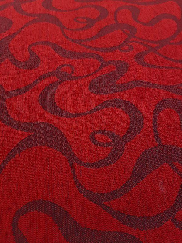 ύφασμα σενίλ με αφηρημένο σχέδιο πόπ σε 2.80 φάρδος και χρώμα ΚΌΚΚΙΝΟ ΜΠΟΡΝΤΏ