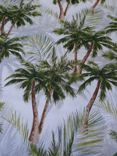 Ύφασμα εμπριμέ με παράσταση Τροπικού Δάσους σε λευκό φόντο σε 2.80 φάρδος