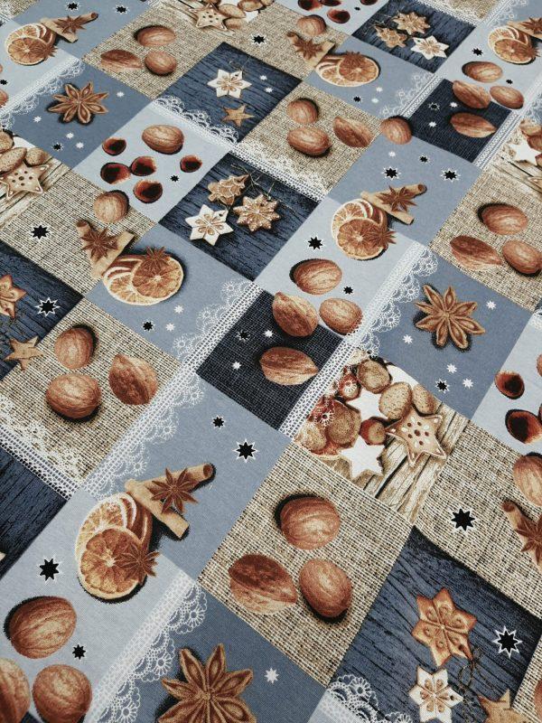 Υφασμα τύπου πατσουορκ με Καρύδια Λεμόνια Κανέλα σε φόντο τετράγωνα μπέζ σιέλ μπλέ τύπου λινό σε 2.80 φάρδος κατάλληλο για τραπεζομάντηλο
