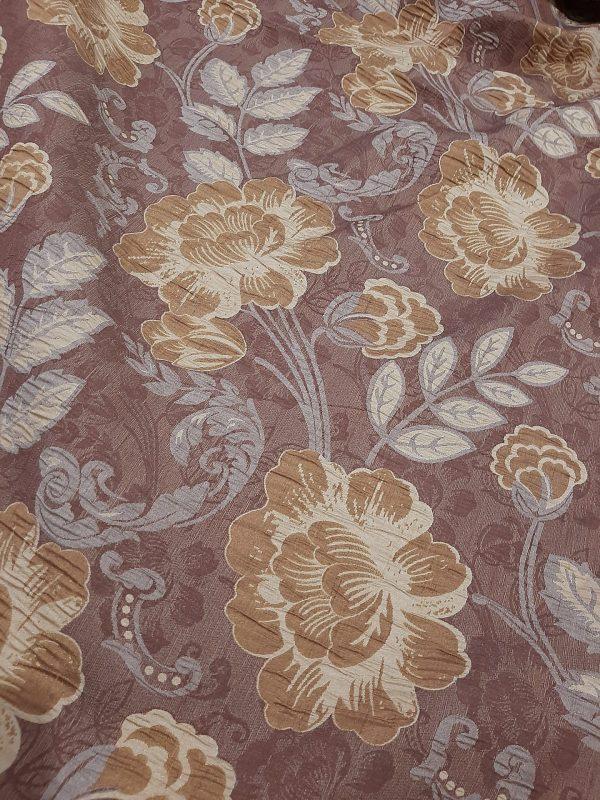 Ύφασμα ΤΑΦΤΆΣ Ζακάρ για κάλυμμα και κουρτίνας σαλονιού με λουλούδια εκρού- κεραμιδί ώχρα σε κεραμιδί φόντο και 2.80 φάρδος