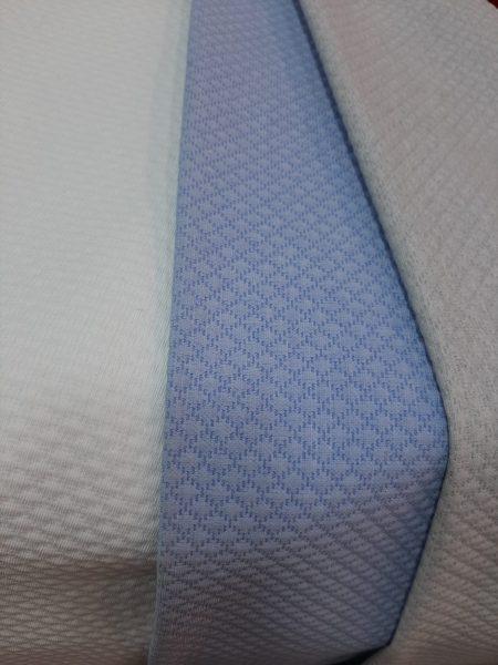 υφάσματα πικέ λευκό σιέλ γκρί σε 2.80 φάρδος για κουβέρτα ριχτάρι