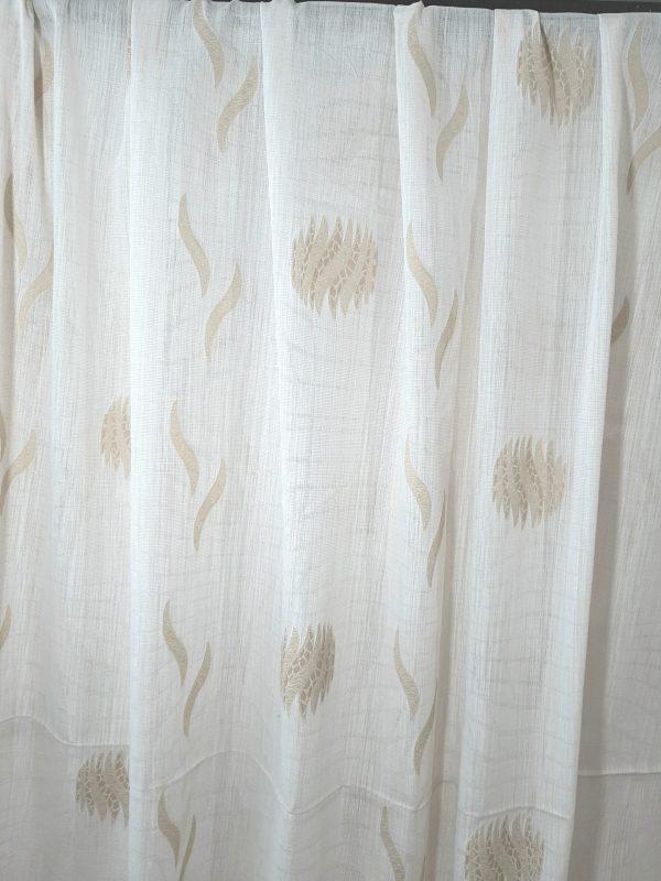 ύφασμα κουρτίνας εκρού με σχέδιο εκρού-απαλό λαδί εξαιρετικής ποιότητος σε 3 μέτρα ύψος γιά σαλόνι , κρεββατοκάμαρα