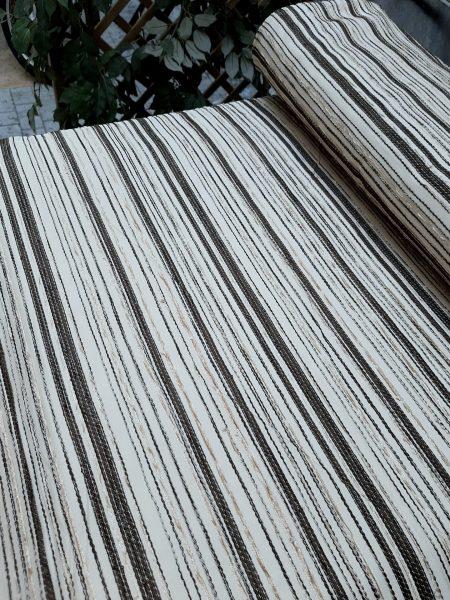 ύφασμα ταφτάς σε βάση εκρού και κεντημένες ζακάρ ρίγες-σενίλ καφέ-μπέζ-άσπρο με ύψος 3 μέτρα