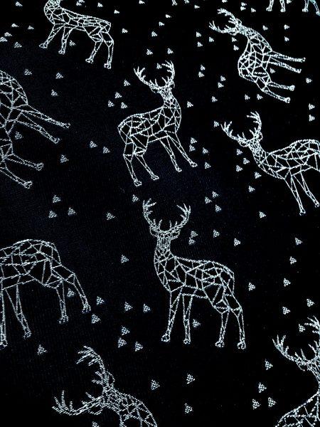 ύφασμα πάναμα μαύρο με ασημένια lurex αστέρια και ελάφια σε 2.80 φάρδος
