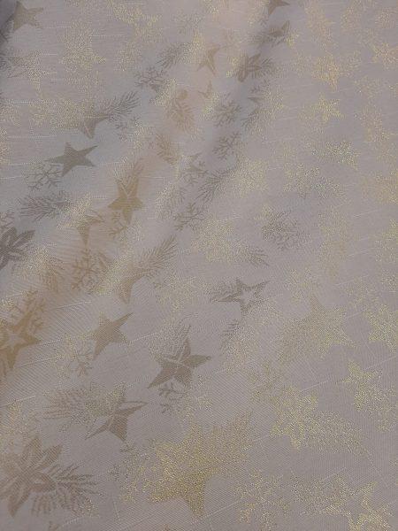 χριστουγεννιάτικο ύφασμα μαλακό χρυσά-lurex αστέρια σε εκρού-λευκό φόντο και 2.80 φάρδος γιά εξαιρετικό τραπεζομάντηλο, ράνερ και την χριστουγεννιάτικη διακόσμηση