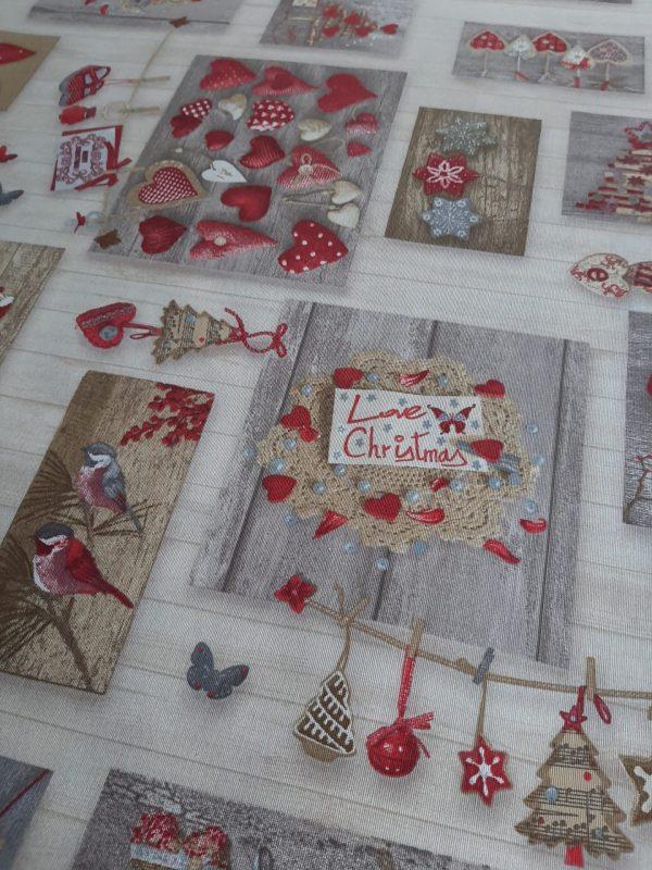 ύφασμα χριστουγεννιάτικες καρδιές και στολίδια σε γκρί μπέζ