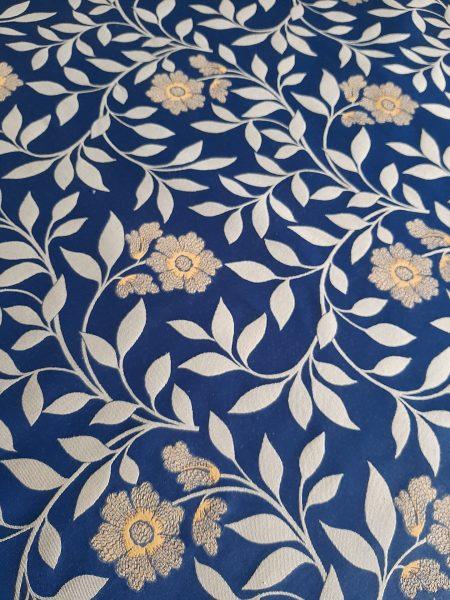 ΎΦΑΣΜΑ ΕΠΊΠΛΩΣΗς - κουρτίνας με φύλλα - λουλούδια χρυσά σε μπλέ φόντο και 2.80 φάρδος